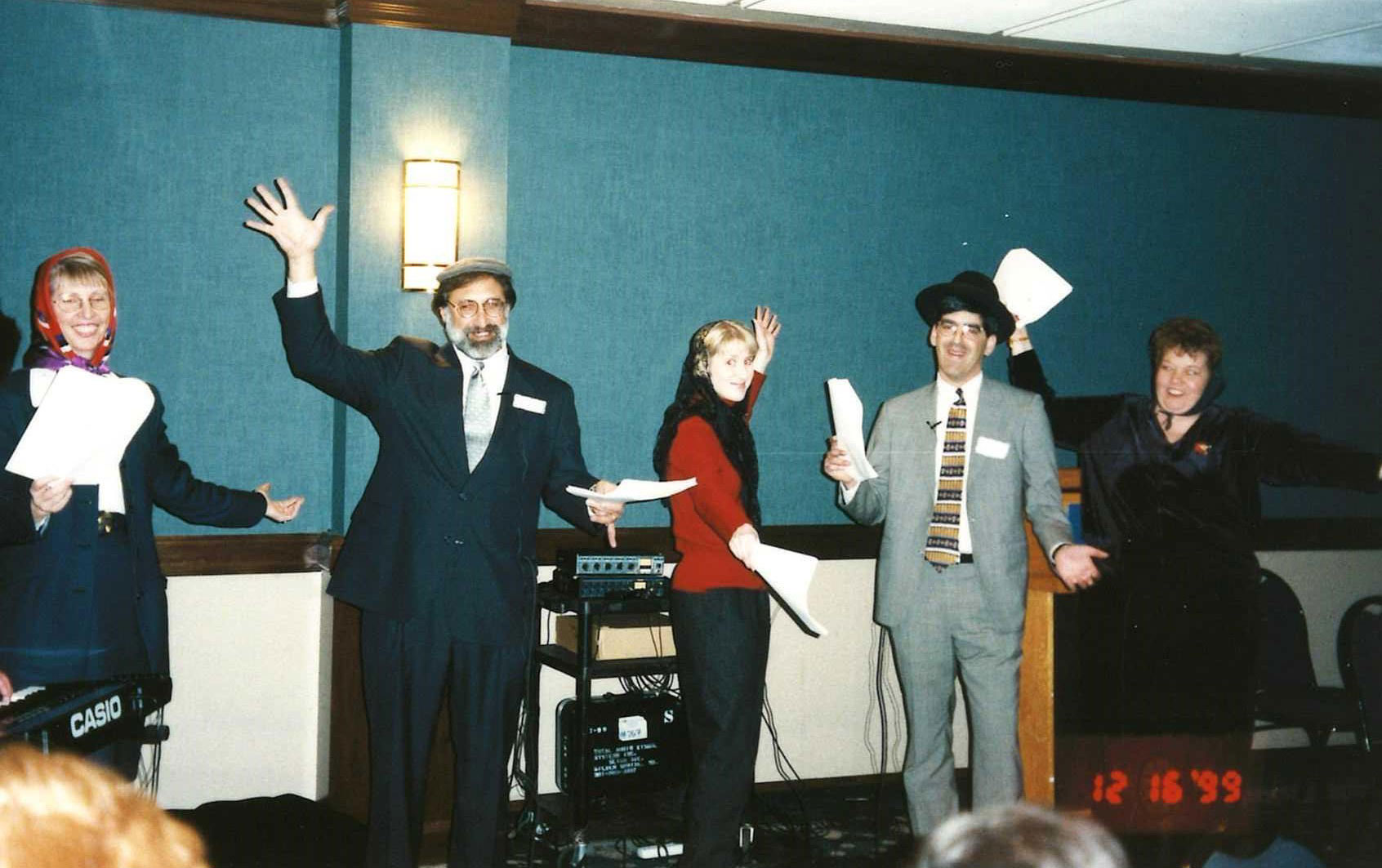 "Carla Witzel, Barry Rosen, Jennifer Dean, Ned Himmelrich and Ros Markiewicz performing Gordon Feinblatt's rendition of ""Fiddler on the Roof."""